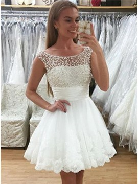 A-Line Crew Neck Short White Homecoming Dress with Lace Beading