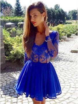 A-Line V-Neck Long Sleeves Appliques Royal Blue Short Homecoming Dress