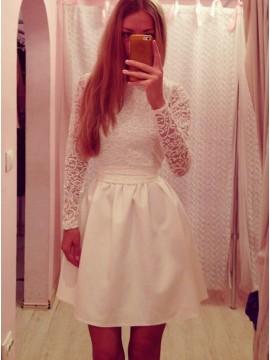 A-Line High Neck Long Sleeves White Homecoming Dress with Sashes