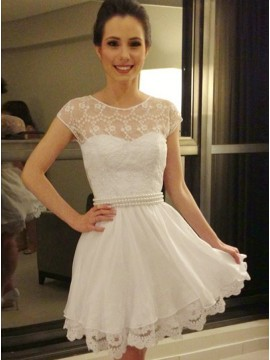 A-Line Jewel Cap Sleeves White Short Homecoming Dress with Pearl