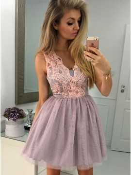 A-Line V-Neck Short Lavender Tulle Homecoming Dress with Lace
