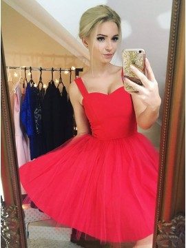 A-Line Straps Sleeveless Short Red Tulle Homecoming Dress