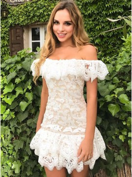 A-Line Off-the-Shoulder White Lace Short Homecoming Dress with Ruffles