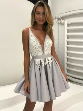 A-Line V-Neck Appliques Grey Satin Homecoming Dress