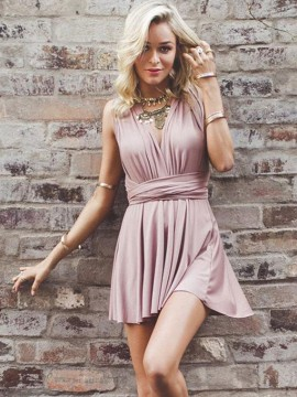 A-Line Deep V-Neck Short Blush Convertible Homecoming Dress
