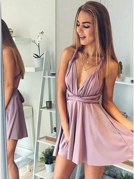 A-Line Deep V-Neck Short Blush Convertible Homecoming Dress