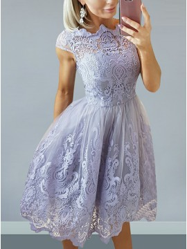 A-Line Bateau Cap Sleeves Lilac Homecoming Dress with Appliques