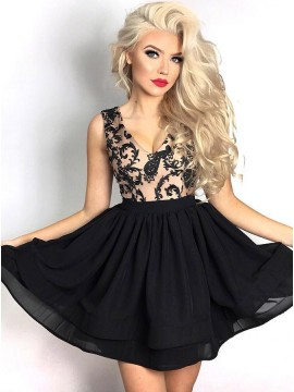 A-Line V-Neck Short Black Chiffon Homecoming Dress with Appliques