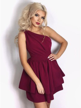 A-Line One Shoulder Short Burgundy Tiered Homecoming Dress