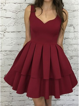 A-Line Scoop Sleeveless Short Tiered Burgundy Homecoming Party Dress