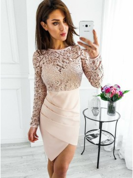 Sheath Bateau Asymmetrical Satin Homecoming Dress with Lace Sleeves
