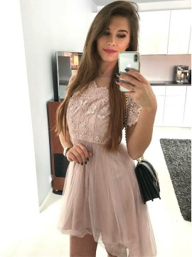 A-Line Round Neck Short Sleeves Blush Homecoming Dress with Appliques