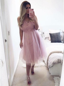 e369c8d320 A-Line V-Neck Knee-Length Pink Tulle Homecoming Dress w.