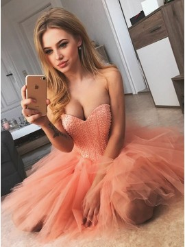 A-Line Sweetheart Short Coral Tulle Homecoming Dress with Beading