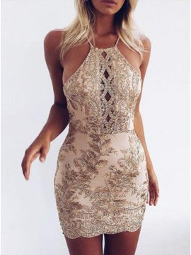 Sheath Straps Champagne Short Backless Homecoming Dresses with Sequins
