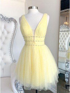A Line Doffodil Backless Homecoming Dress
