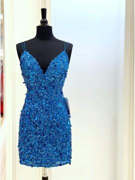 Blue Sequin Short Glitter Homecoming Dress