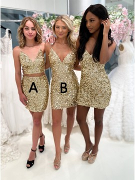 Champagne Sequin Homecoming Dress
