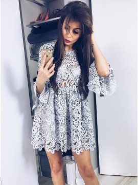 A-Line Crew Bell Sleeves Above-Knee Grey Lace Homecoming Dress