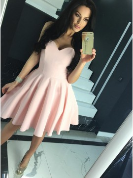 A-Line Sweetheart Lace-Up Short Pink Satin Homecoming Dress