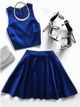 Two Piece Jewel Royal Blue Short Satin Homecoming Dress