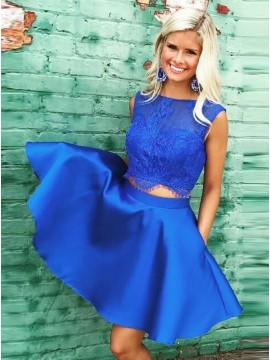 Two Piece Bateau Royal Blue Homecoming Dress with Lace Pockets
