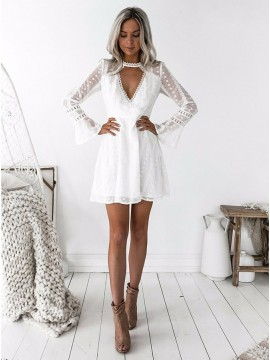 A-Line Jewel Long Sleeves White Lace Homecoming Dress with Hole