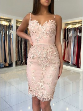 Sheath Spaghetti Straps Above-Knee Pink Homecoming Dress with Appliques