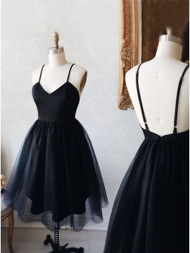 A-Line Spaghetti Straps Backless Above-Knee Black Homecoming Dress