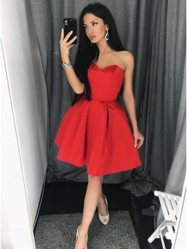 5be6797c73 A-Line Sweetheart Above-Knee Red Satin Homecoming Dress with Pleats