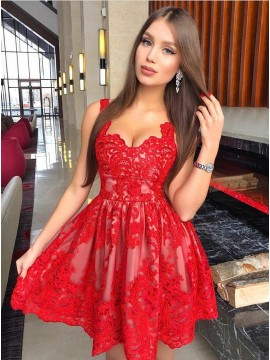 A-Line Straps Short Red Homecoming Dress with Appliques