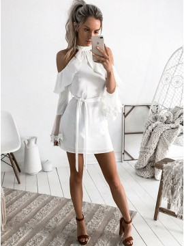 Sheath Jewel Long Sleeves White Short Homecoming Dress with Ruffles Sash