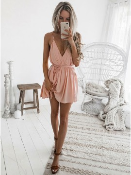 A-Line Spaghetti Straps Backless Short Pink Chiffon Homecoming Dress with Sash