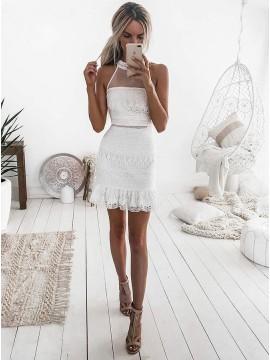 Sheath Jewel Sleeveless Short White Lace Homecoming Cocktail Dress