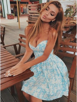 A-Line Sweetheart Above-Knee Light Blue Satin Printed Homecoming Dress