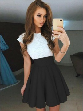 A-Line Jewel Cap Sleeves Short Black Homecoming Dress with Lace Bodice