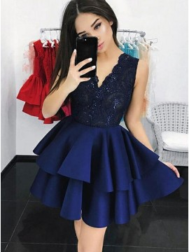 A-Line V-Neck Short Navy Blue Tiered Homecoming Dress with Lace