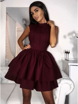 A-Line Jewel Short Burgundy Tiered Satin Homecoming Dress with Pleats
