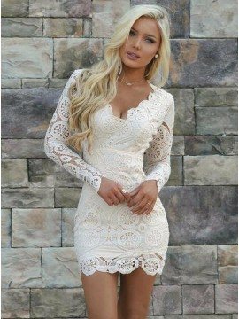 2a171db732d Sheath V-Neck Long Sleeves Open Back Short White Lace H..