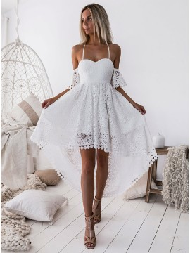 A-Line Spaghetti Straps High Low White Lace Prom Homecoming Dress