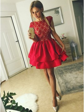 A-Line Crew Cap Sleeves Above-Knee Red Tiered Homecoming Dress with Lace Bodice