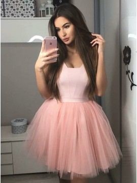 A-Line Square Sleeveless Above-Knee Pink Pleated Homecoming Dress
