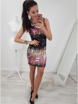 Sheath Round Neck Above-Knee Ombre Sequined Homecoming Cocktail Dress