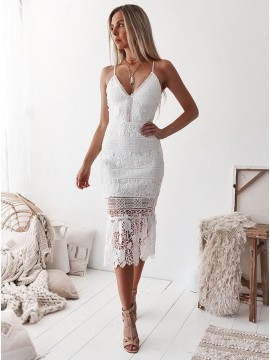 Sheath Spaghetti Straps Mid-Calf White Lace Prom Homecoming Dress