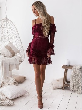 Sheath Spaghetti Straps Long Sleeves Short Burgundy Lace Homecoming Dress with Ruffles
