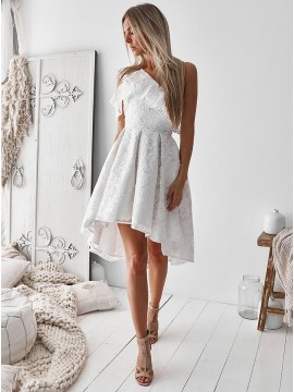 A-Line One Shoulder High Low White Lace Prom Homecoming Dress with Ruffles