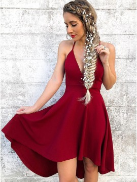 A-Line Spaghetti Straps Sleeveless High Low Burgundy Homecoming Dress