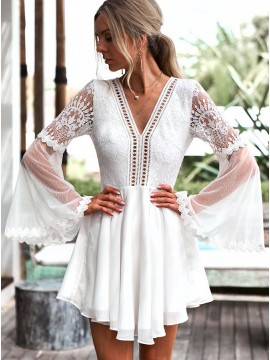 A-Line V-Neck Open Back Bell Sleeves Short White Chiffon Homecoming Dress with Lace