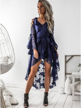 A-Line V-Neck Bell Sleeves High Low Navy Blue Chiffon Prom Homecoming Dress