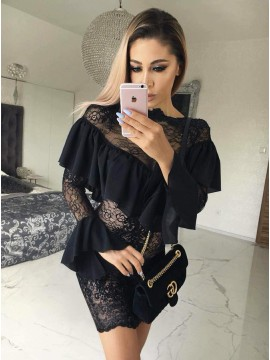 Sheath Bateau Long Sleeves Short Black Lace Homecoming Dress with Ruffles